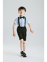 Polester/Cotton Blend Ring Bearer Suit - Four-piece Suit Pieces Includes  Shirt Pants Bow Tie Suspenders