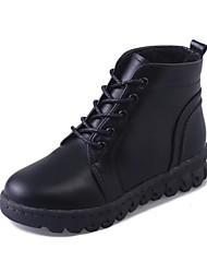 Women's Boots Winter Platform PU Outdoor Office & Career Casual Low Heel Lace-up Black Light Brown
