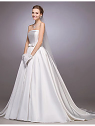 Princess Strapless Court Train Satin Wedding Dress with Bow Button by