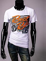 Herren Solide Geometrisch Einfach Lässig/Alltäglich T-shirt,Rundhalsausschnitt Sommer Kurzarm Weiß Andere Undurchsichtig