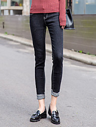Women's Straight Jeans Pants,Going out Casual/Daily Party/Cocktail Street chic Solid Mid Rise Button Cotton Spandex Micro-elasticSpring