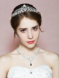 Bijoux 1 Collier 1 Paire de Boucles d'Oreille 1 Bijou de Cheveux Strass Mariage Soirée Strass 1set Femme A Motifs Cadeaux de mariage