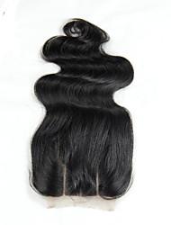 4x4 Lace Closure Malaysian Body Wave Closure Human Hair Closure Bleached Knots Malaysian Virgin Hair Body Wave  Chinese Lace 100G gram Petite Cap Size