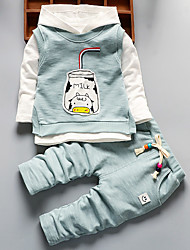 Girls Fashion Print Cartoon Stripe T-shirt Cat Vest Sweatpants Three-Piece Outfit