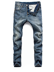 Men's Straight Jeans Pants,Casual/Daily Sports Simple Active Solid Mid Rise Zipper Cotton Inelastic Spring Fall