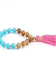 Women's Strand Bracelet Tassel Friendship Beaded Gemstone Agate Gold Plated Star Jewelry For Daily Casual