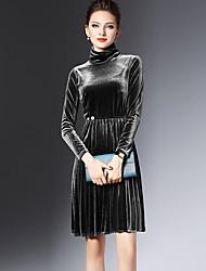 Ample Robe Femme Décontracté / Quotidien Sexy,Couleur Pleine Col Roulé Au dessus du genou Manches Longues Bleu Noir PolyesterPrintemps