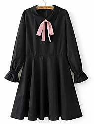 Women's Going out Casual/Daily Holiday Simple Cute Street chic A Line Loose Dress,Solid Patchwork Bow Ruched Round Neck Above KneeLong