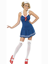 Cosplay Costumes Party Costume Sailor/Navy Career Costumes Movie Cosplay Green Solid Dress Headwear Halloween Carnival Female Polyester