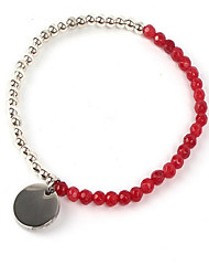 Women's Strand Bracelet Gemstone Stainless Steel Agate Friendship Star Red Jewelry 1pc