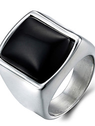 Men's Fashion 316L Titanium Steel Personality Vintage Jewel Agate Onyx Rings Casual/Daily Accessory 1pc