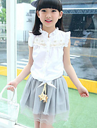 Summer girls lace stitching shirt with white gauze skirt 2 piece