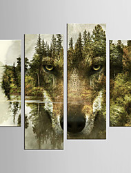 Canvas Set Abstract Animal Modern European Style,Four Panels Canvas Any Shape Print Wall Decor For Home Decoration