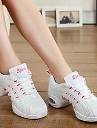 Non Customizable Women's Dance Shoes Leatherette Leatherette Dance Sneakers Flats Flat Heel Outdoor Black White