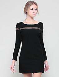Gaine Noir Robe Femme Décontracté / Quotidien Habillées Travail Vintage simple Sophistiqué,Couleur Pleine Col Arrondi Au dessus du genou