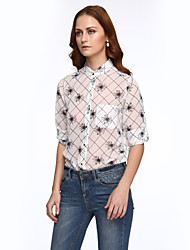 Fashion Women's Print Shirts Red / White / Beige / Yellow Set,Stand Long Sleeve Tops