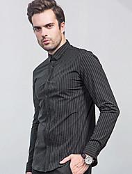 Men's Formal Street chic Shirt,Striped Shirt Collar Long Sleeve Black Green Silk
