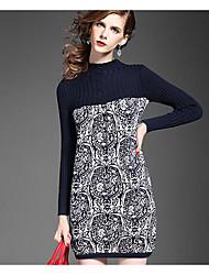 Women's Casual/Daily Cute Bodycon Dress,Jacquard Crew Neck Above Knee Long Sleeve Blue Black Wool Acrylic Fall High Rise Micro-elastic
