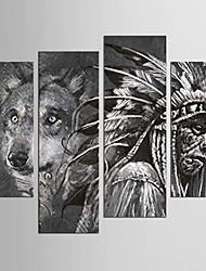 Canvas Set Abstract Animal Classic European Style,Four Panels Canvas Any Shape Print Wall Decor For Home Decoration