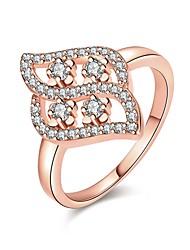 Anéis Zircônia cúbica Diário Casual Jóias Zircão Cobre Feminino Anel 1peça,7 8 Ouro Rose Amarelo Dourado