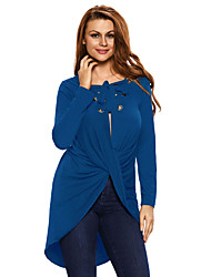 Women's Royal Blue Lace Up Long Sleeve Ruched Pullover Shirt