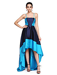TS Couture Prom Formal Evening Dress - Color Block High Low A-line Spaghetti Straps Asymmetrical Satin with Pleats