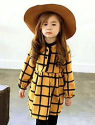 Menina de Vestido Casual Xadrez Primavera Outono Algodão Manga Longa