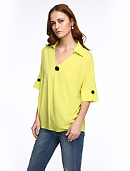 Women's Plus Size Street chic Summer Blouse,Solid V Neck ½ Length Sleeve Red / White / Black / Yellow Polyester Medium
