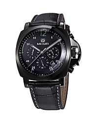 Men's Sport Watch Military Watch Dress Watch Fashion Watch Wrist watch Quartz Calendar Genuine Leather Band Vintage Casual Silver Brand
