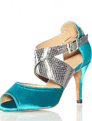 Women's Sandals Summer Other Satin Leatherette Dress Stiletto Heel Buckle Hollow-out Split Joint Blue Fitness & Cross Training