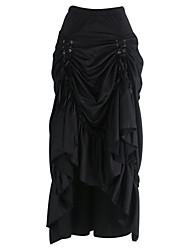 Shaperdiva Women Black Three Tiered Satin Gothic Steampunk Skirts Costumes