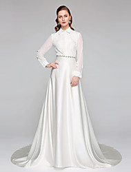 LAN TING BRIDE A-line Wedding Dress - Chic & Modern Two-in-One Chapel Train High Neck Chiffon Lace Satin with Bow Sash / Ribbon