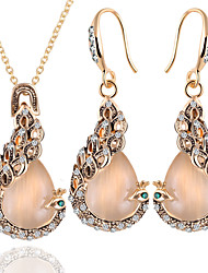 Jewelry Set Opal European Opal Alloy Peacock Gold 1 Necklace 1 Pair of Earrings For Daily 1set Wedding Gifts