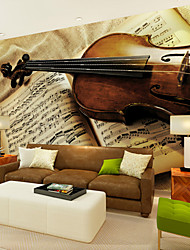 JAMMORY Violin Music Score Background Wallpaper Mural  Wall Covering Canvas Material Golden Church XL XXL XXXL