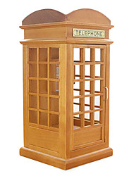 Retro European Telephone Booth British Music Box/DIY Wooden Box