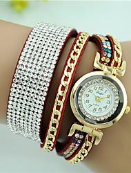 Women's Bracelet Watch Imitation Diamond Quartz Leather Band Black White Blue Red Brown Pink Rose
