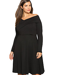 Women's Cross Shoulder Fit and Flare Curvy Dress