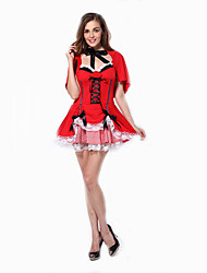 Cosplay Costumes Party Costume Maid Costumes Career Costumes Movie Cosplay Red Solid Dress Halloween Carnival Female Polyester