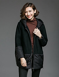 Women's Going out Casual/Daily Simple Coat,Solid Hooded Long Sleeve Spring Winter Black Gray Wool Polyester Thick