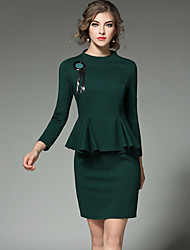 Women's Formal Work Sophisticated Bodycon Dress,Solid Peplum Round Neck Above Knee Long Sleeve Polyester Green Spring Mid Rise