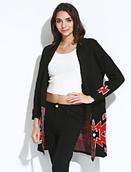 Women's Casual/Daily Simple / Street chic Large Size Jacquard Weave Slim Long Cardigan,Print Cowl Long Sleeve