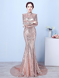 Formal Evening Dress - Sparkle & Shine Sexy Open Back Trumpet / Mermaid High Neck Court Train Sequined with Sequins