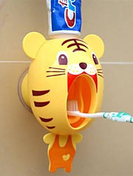 1Pcs For Kids Cute Cartoon Animals Design Set Cartoon Bathroom Household Toothbrush Holder Automatic Toothpaste Dispenser Toothpaste  Random color