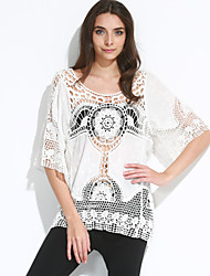 Women's Cut Out Solid White Blouse,Round Neck ½ Length Sleeve