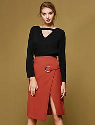 Damen Röcke,Bodycon einfarbigLässig/Alltäglich Einfach Mittlere Hüfthöhe Asymmetrisch Elastizität Polyester Micro-elastischRiemengurte