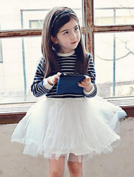 Girl's Casual/Daily Striped Patchwork Dress,Cotton Mesh Spring Fall Long Sleeve