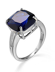 Romantic Love Style Jewelry CZ Diamond Blue Sapphire Silver Ring Size 6 7 8 9 10 Women Bridal Wedding