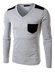 Herren Solide Einfach Lässig/Alltäglich T-shirt,V-Ausschnitt Frühling Herbst Langarm Weiß Grau Baumwolle Mittel