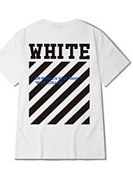 Herren Schachbrett Einfach Lässig/Alltäglich T-shirt,Rundhalsausschnitt Sommer Kurzarm Weiß Schwarz Polyester Dünn