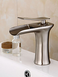 Bathroom Sink Faucet Nickel Brushed Brass Single Handle Centerset Faucet